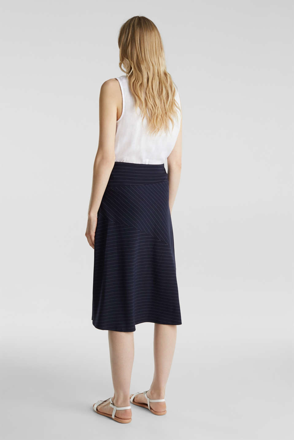 Stretch jersey skirt with pinstripes, NAVY, detail image number 3