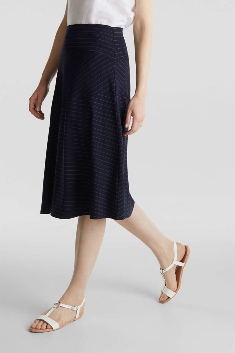 Stretch jersey skirt with pinstripes, NAVY, detail image number 5
