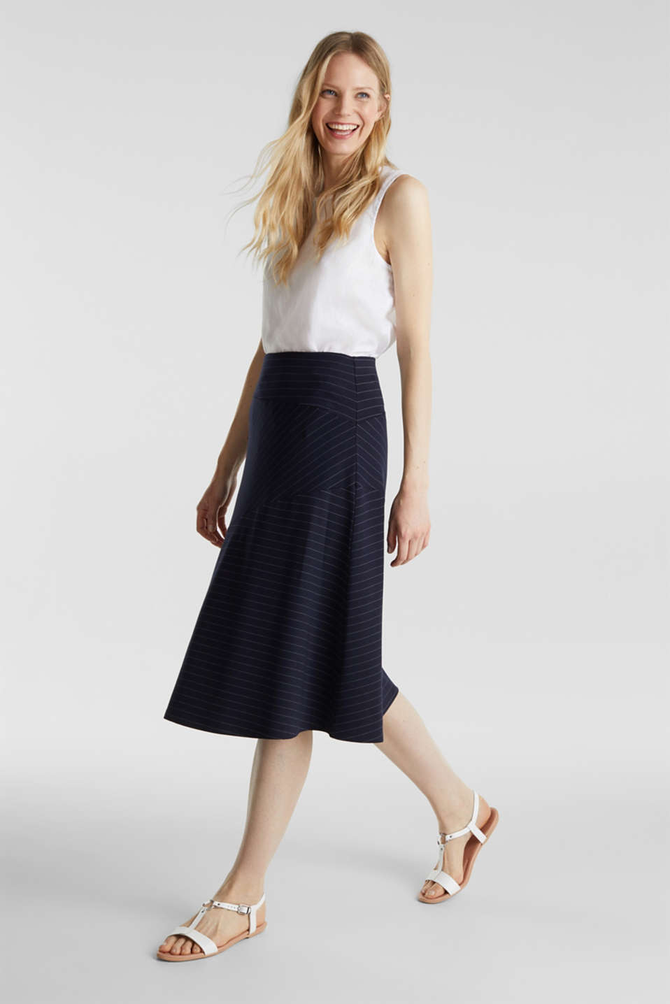 Stretch jersey skirt with pinstripes, NAVY, detail image number 1