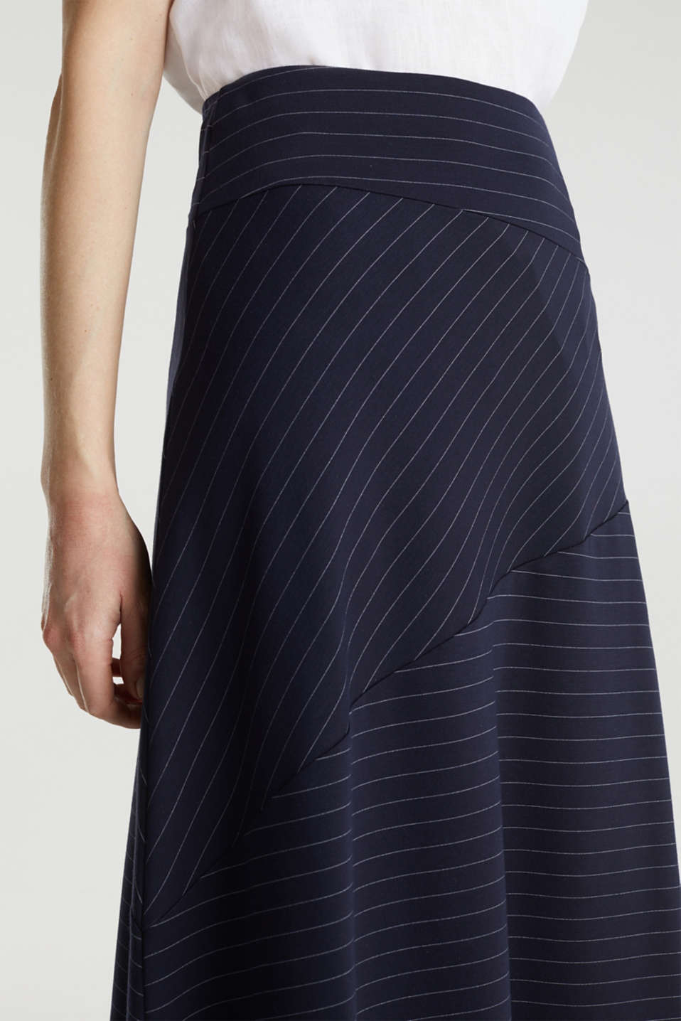 Stretch jersey skirt with pinstripes, NAVY, detail image number 2