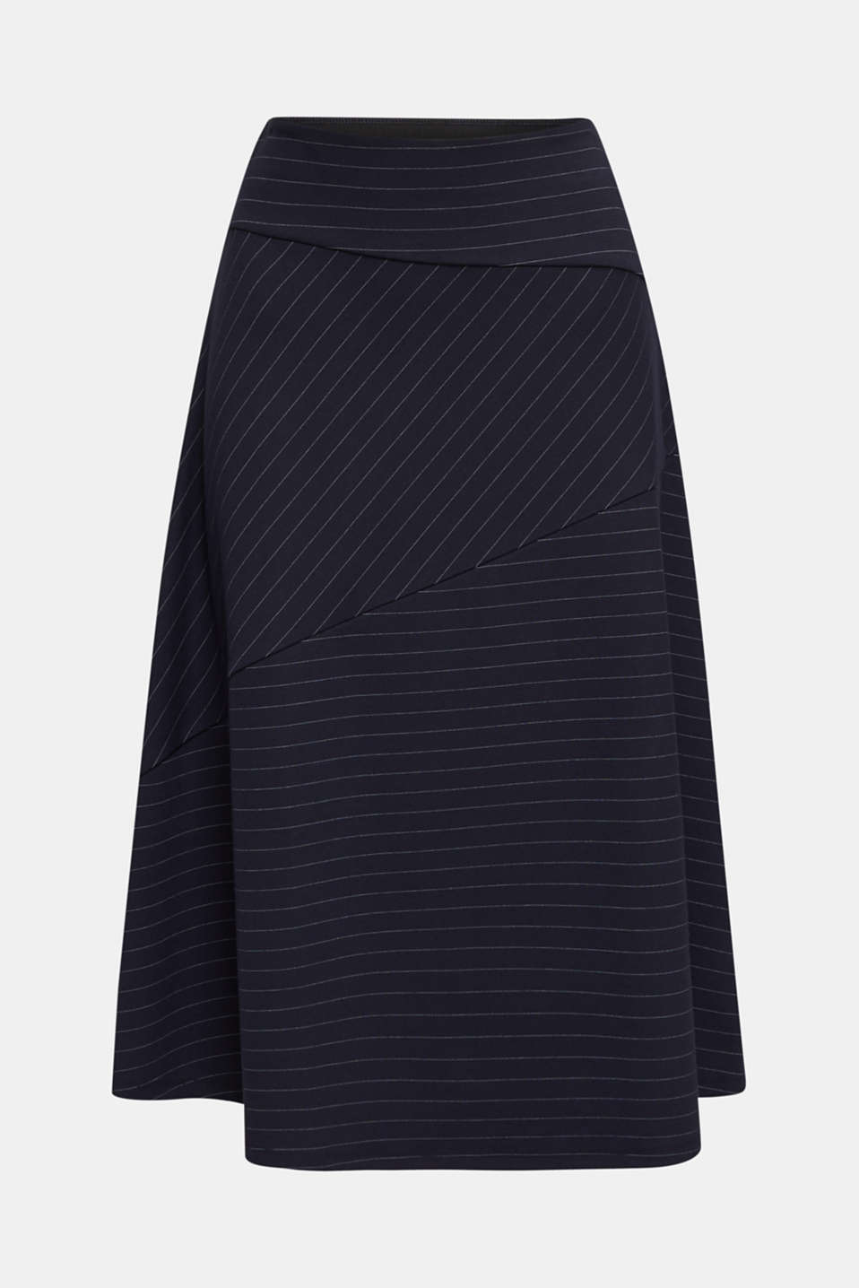 Stretch jersey skirt with pinstripes, NAVY, detail image number 6