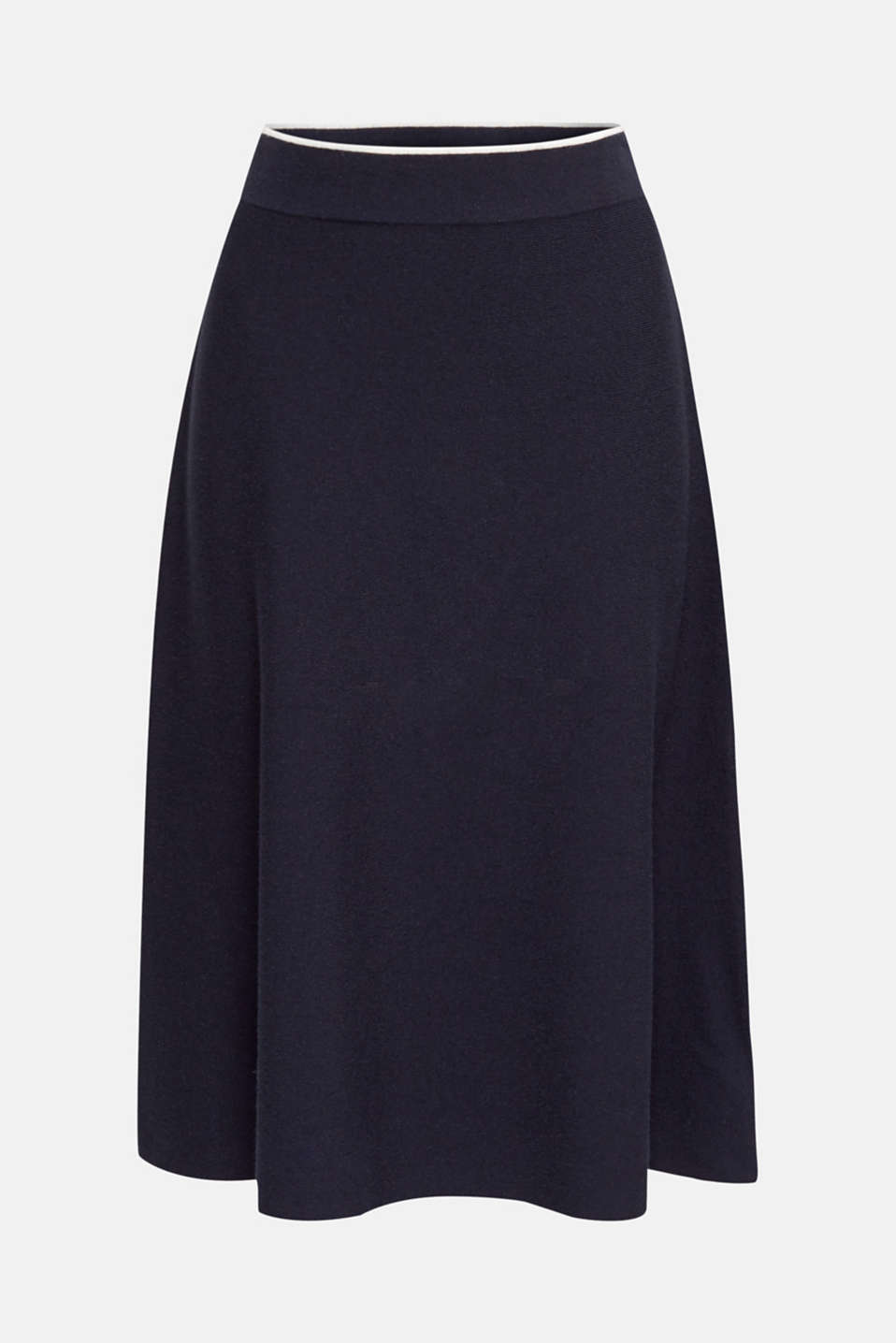 Knitted A-line skirt with a contrasting waistband, NAVY, detail image number 6