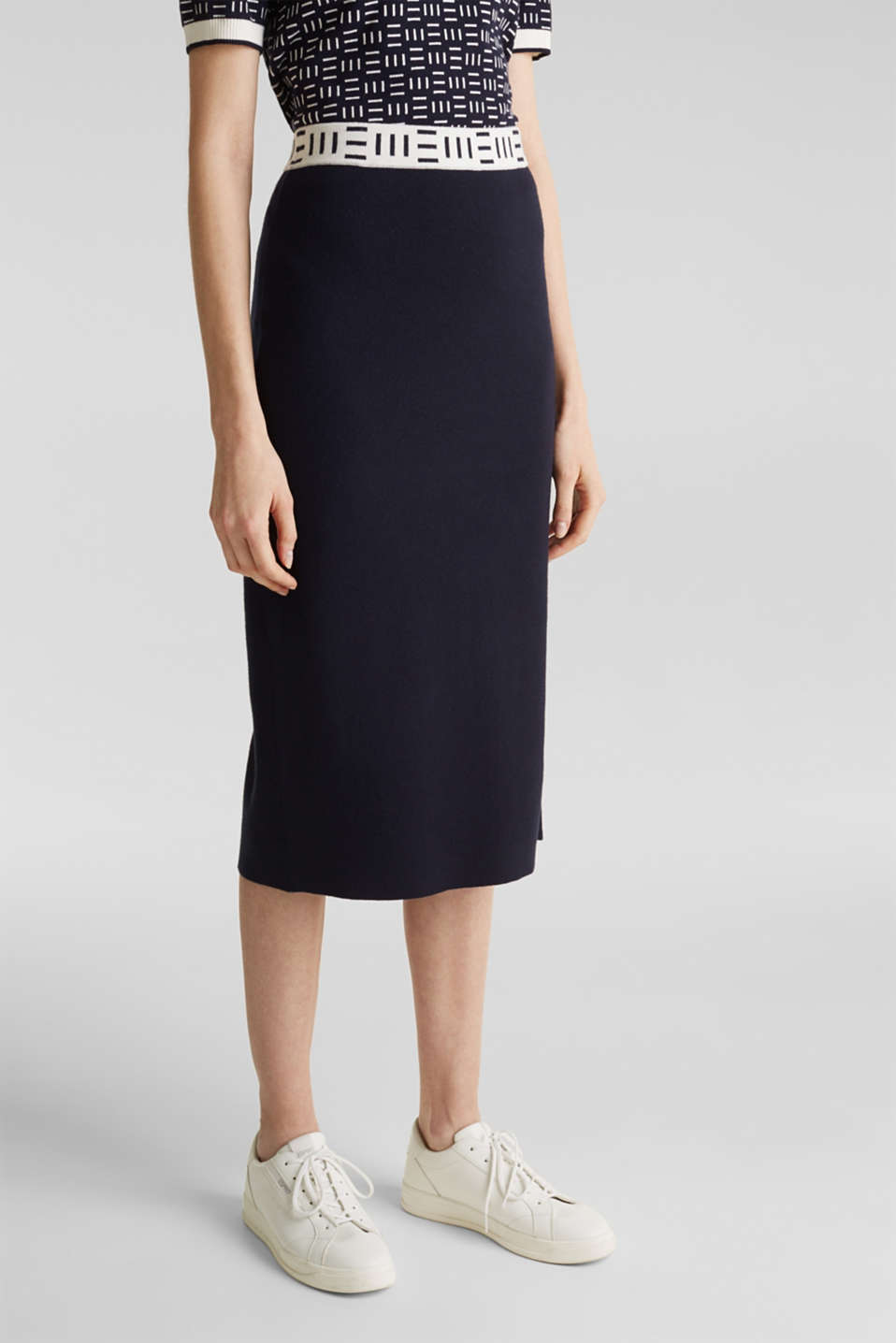 Slim-fitting knit skirt with a logo waistband, NAVY, detail image number 5