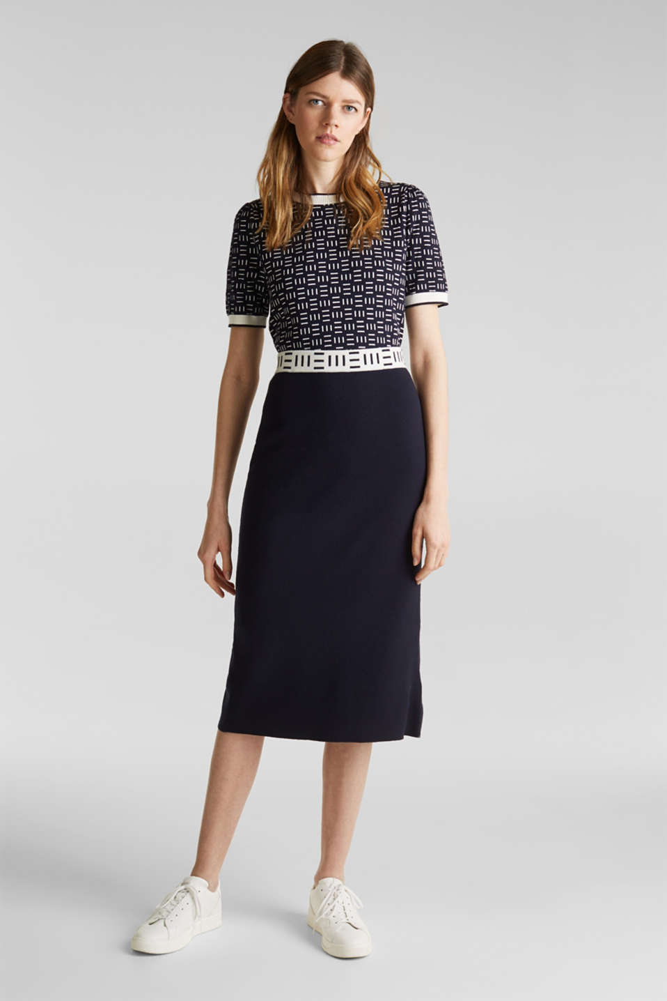 Slim-fitting knit skirt with a logo waistband, NAVY, detail image number 1