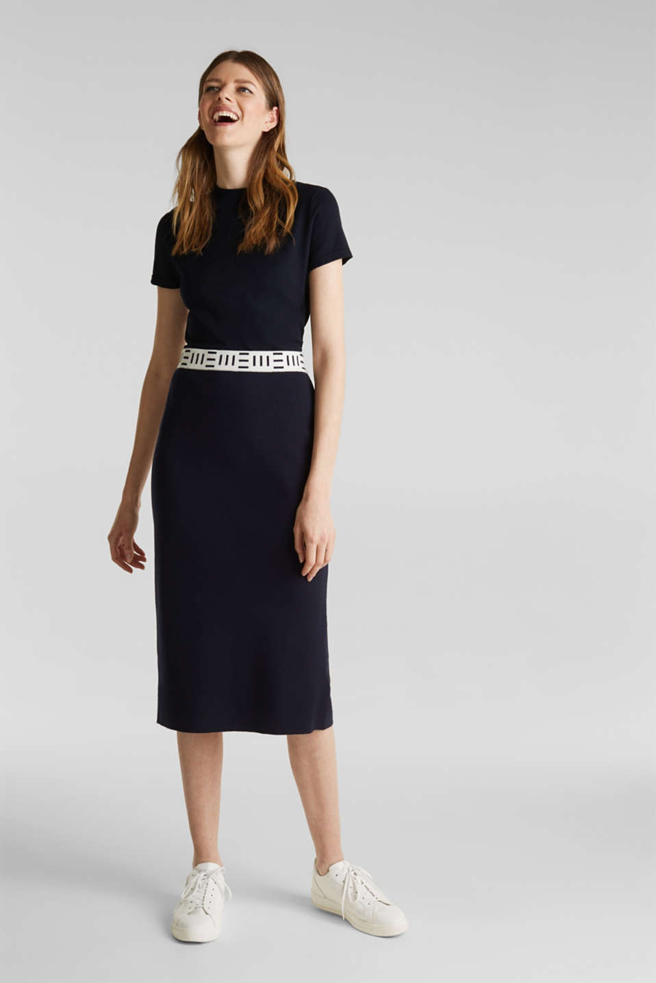 Slim-fitting knit skirt with a logo waistband, NAVY, detail image number 6