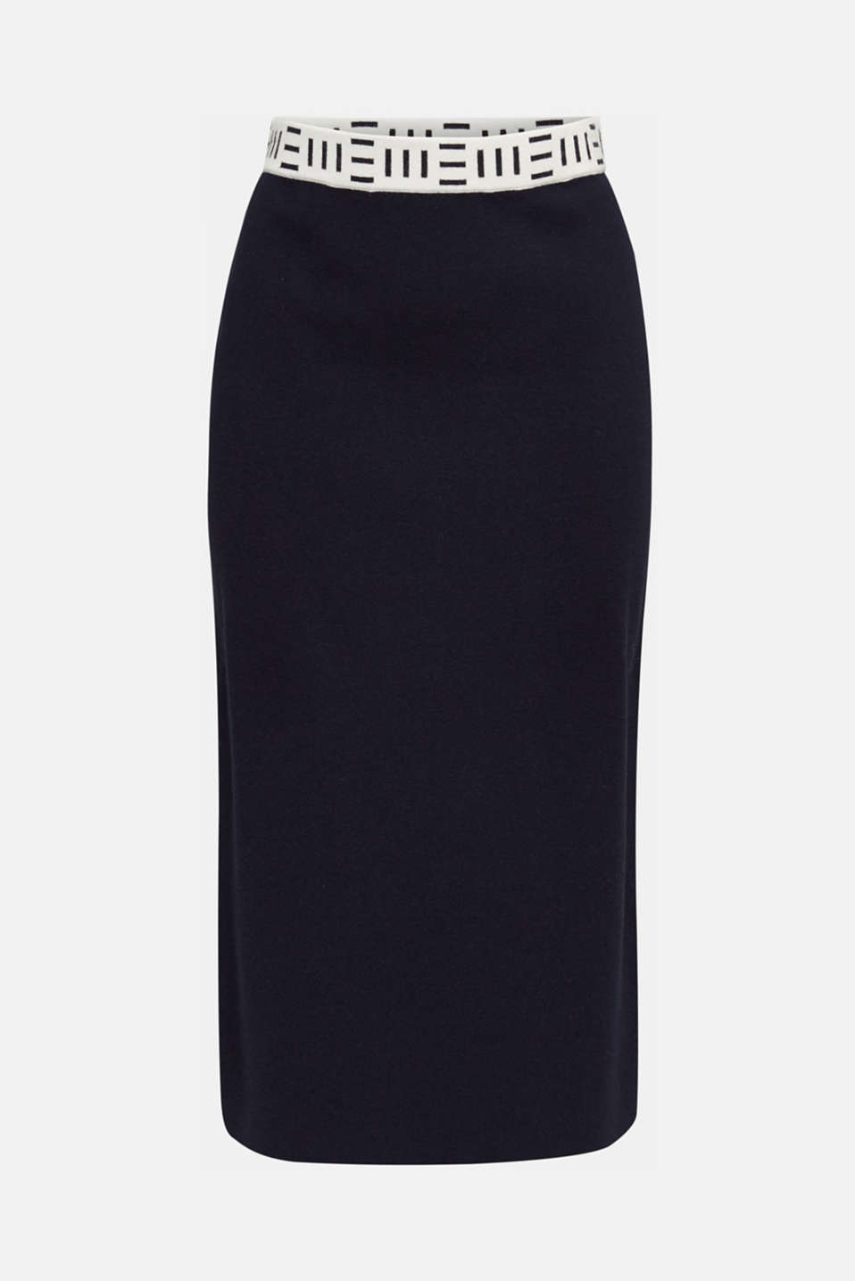 Slim-fitting knit skirt with a logo waistband, NAVY, detail image number 7