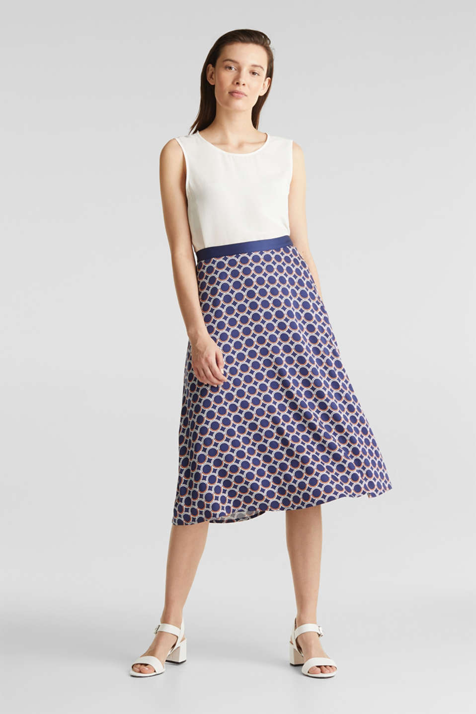 Flared midi skirt with a geometric print, NAVY 3, detail image number 0