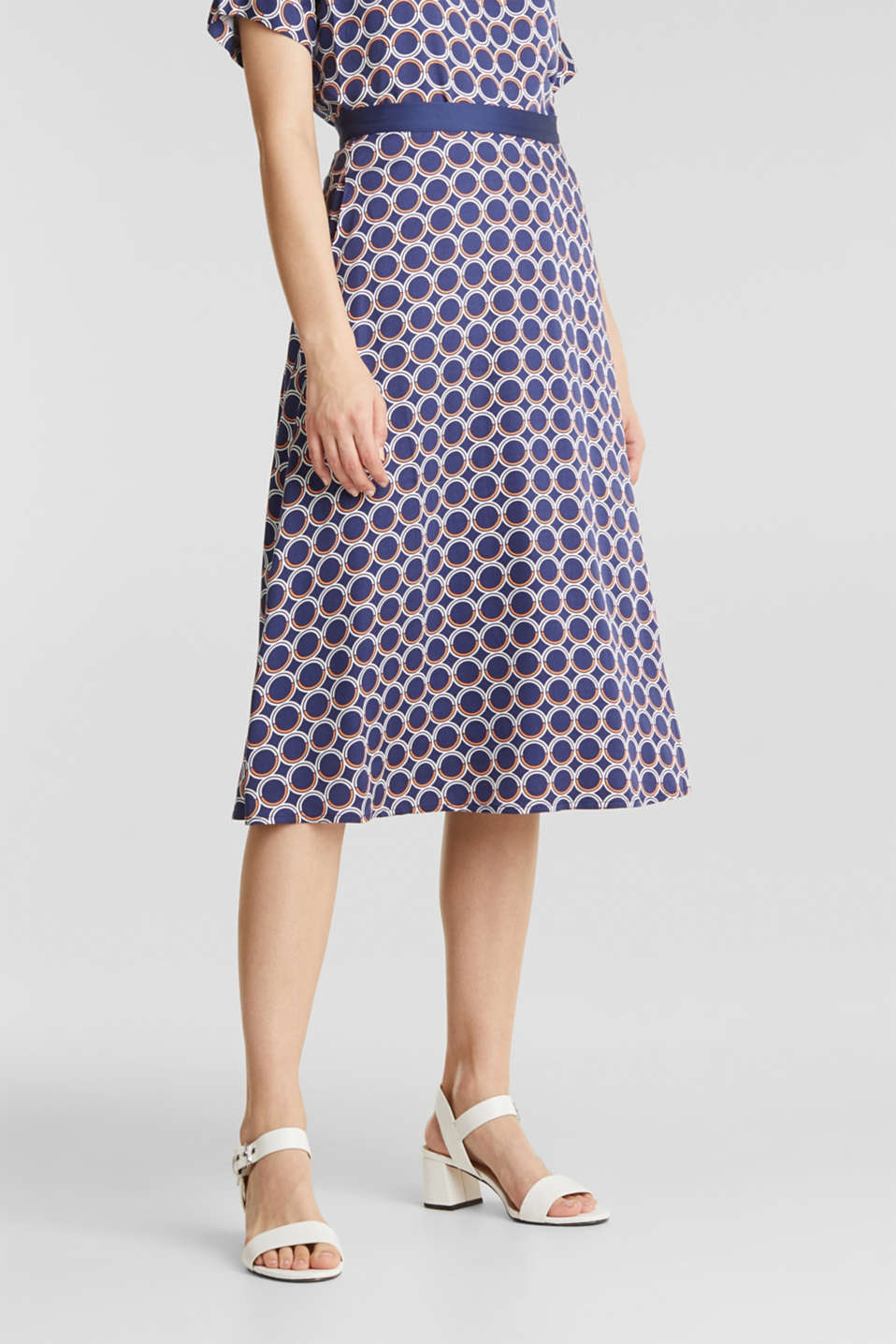 Flared midi skirt with a geometric print, NAVY 3, detail image number 5