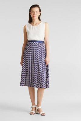 Flared midi skirt with a geometric print, NAVY 3, detail