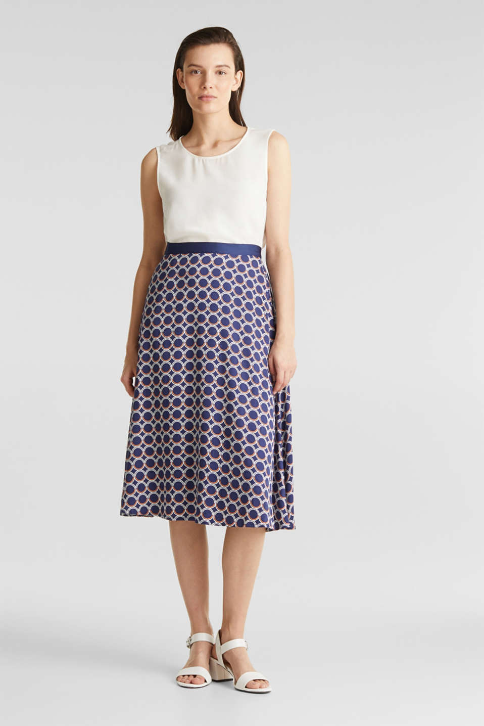 Flared midi skirt with a geometric print, NAVY 3, detail image number 1