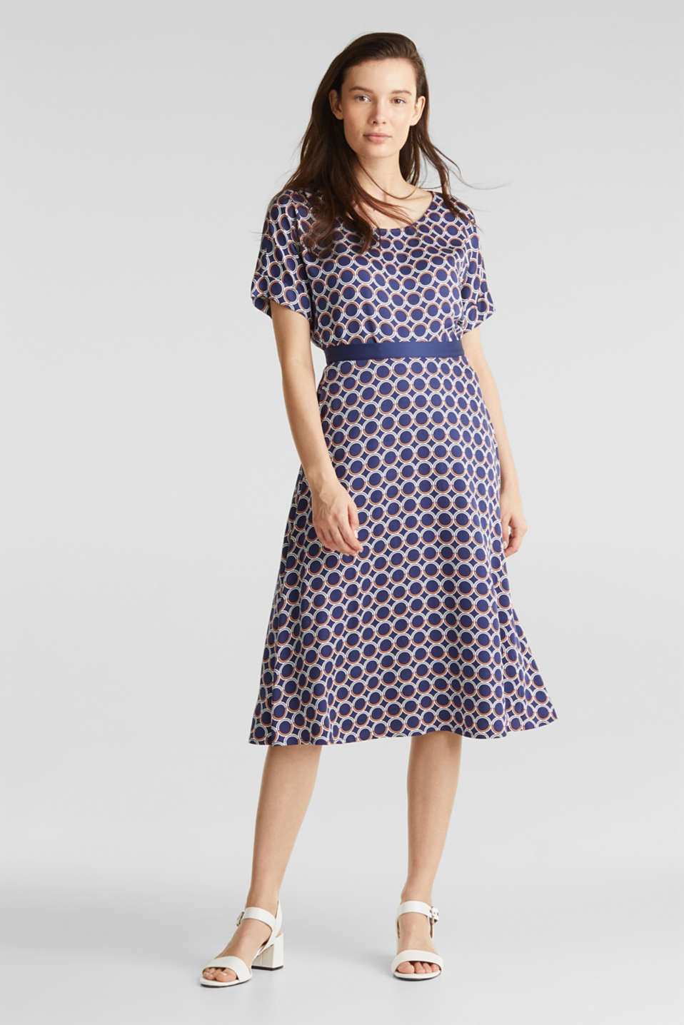 Flared midi skirt with a geometric print, NAVY 3, detail image number 6