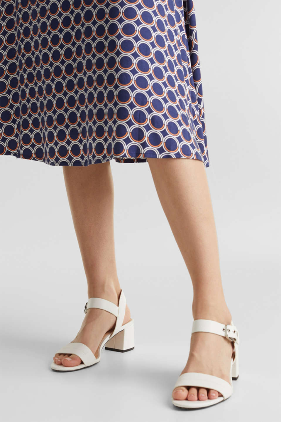 Flared midi skirt with a geometric print, NAVY 3, detail image number 2