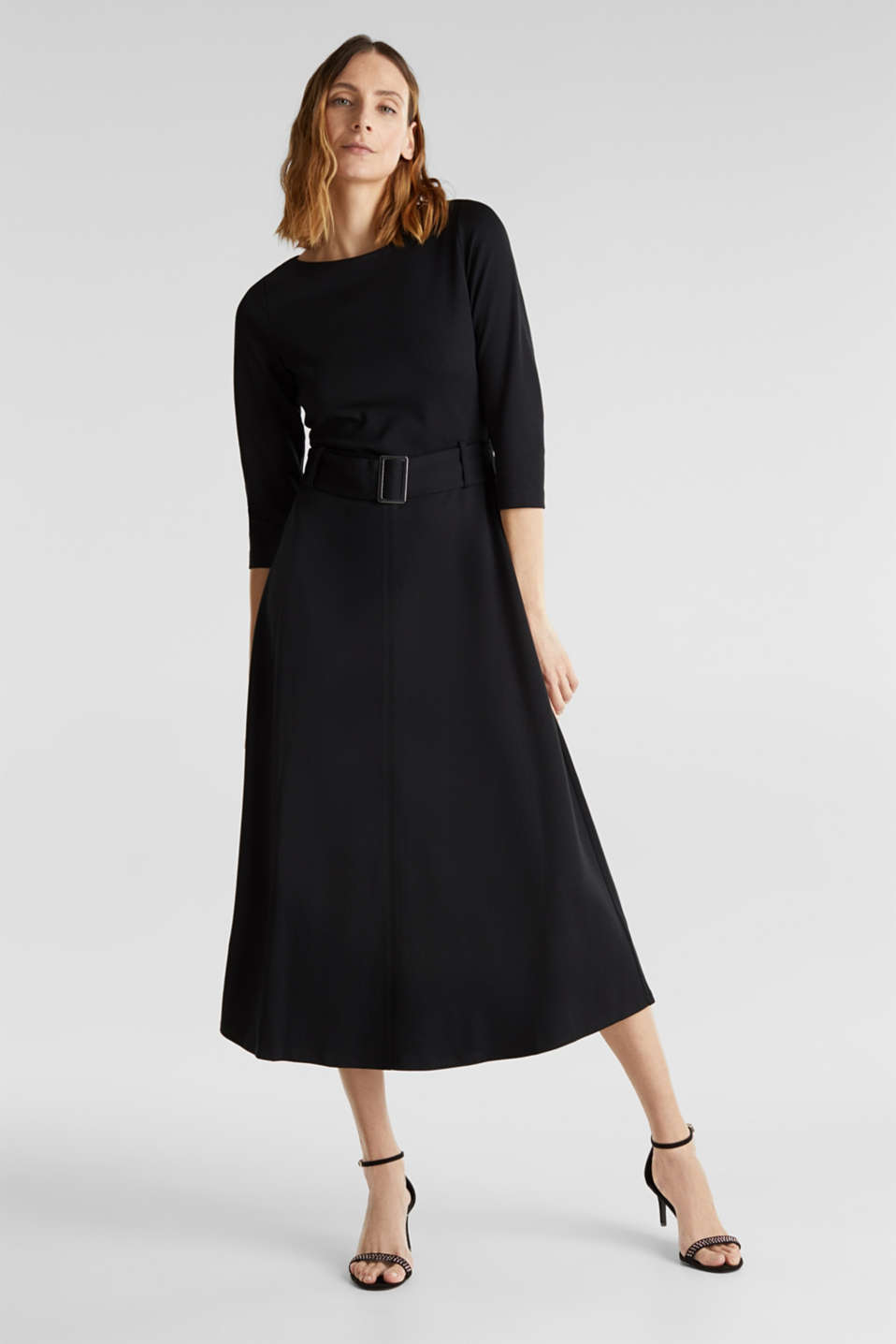 Stretch jersey dress with a belt, BLACK, detail image number 0