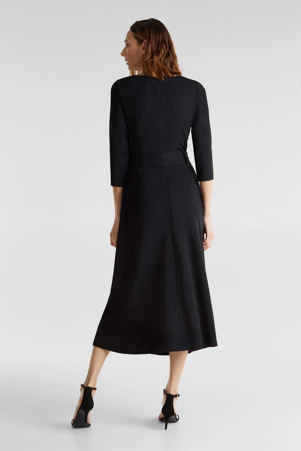 Stretch jersey dress with a belt, BLACK, detail image number 2
