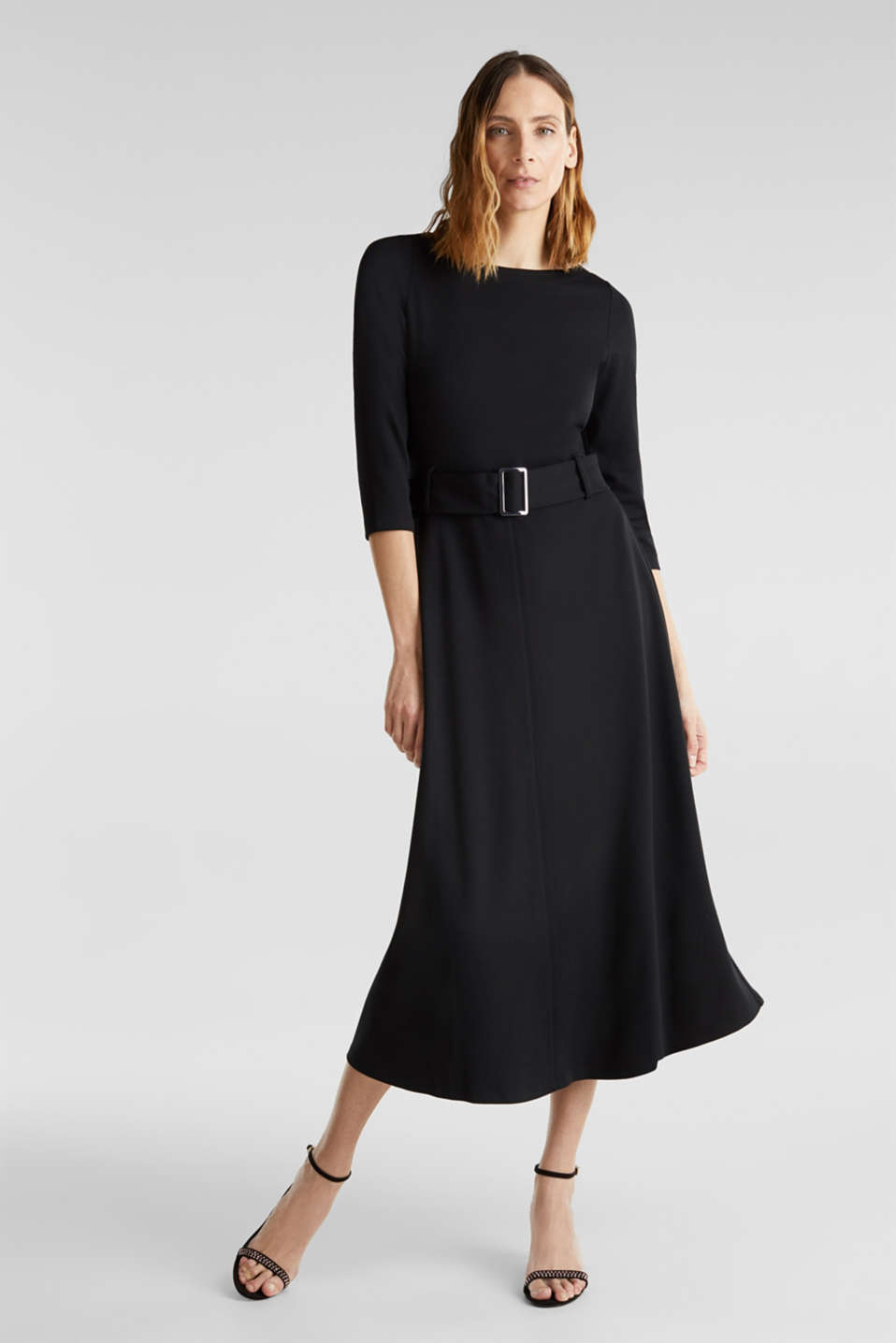 Stretch jersey dress with a belt, BLACK, detail image number 1