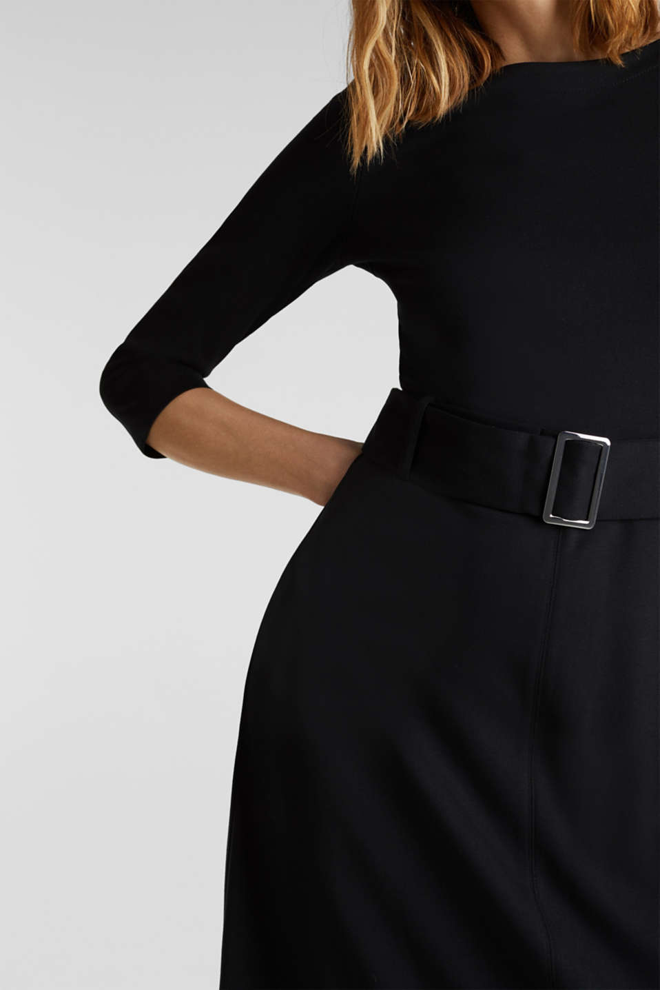 Stretch jersey dress with a belt, BLACK, detail image number 3