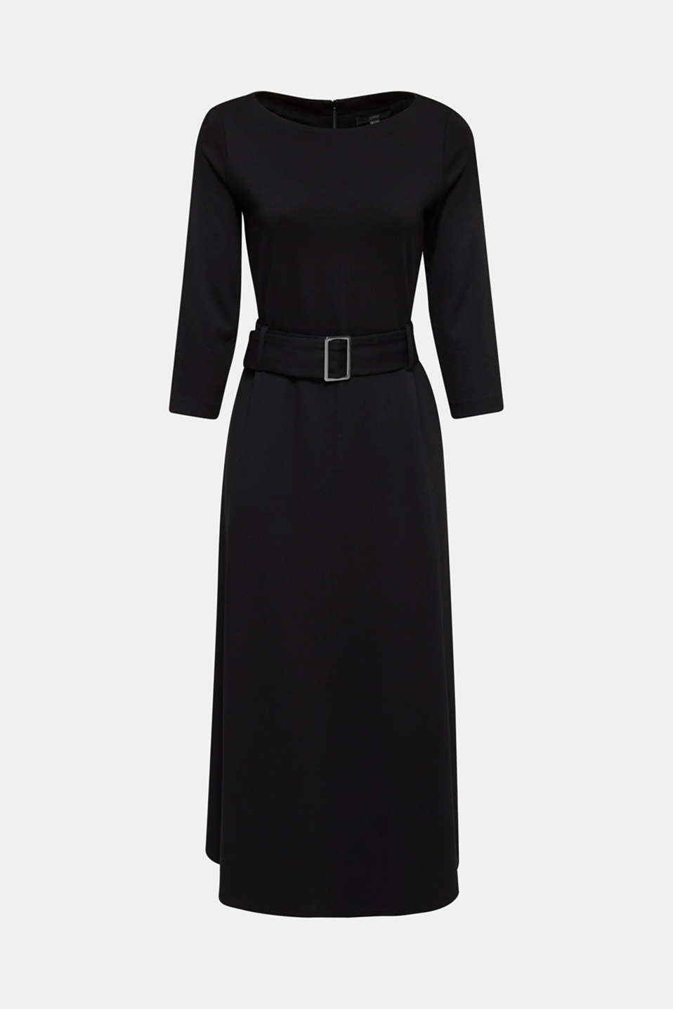 Stretch jersey dress with a belt, BLACK, detail image number 5