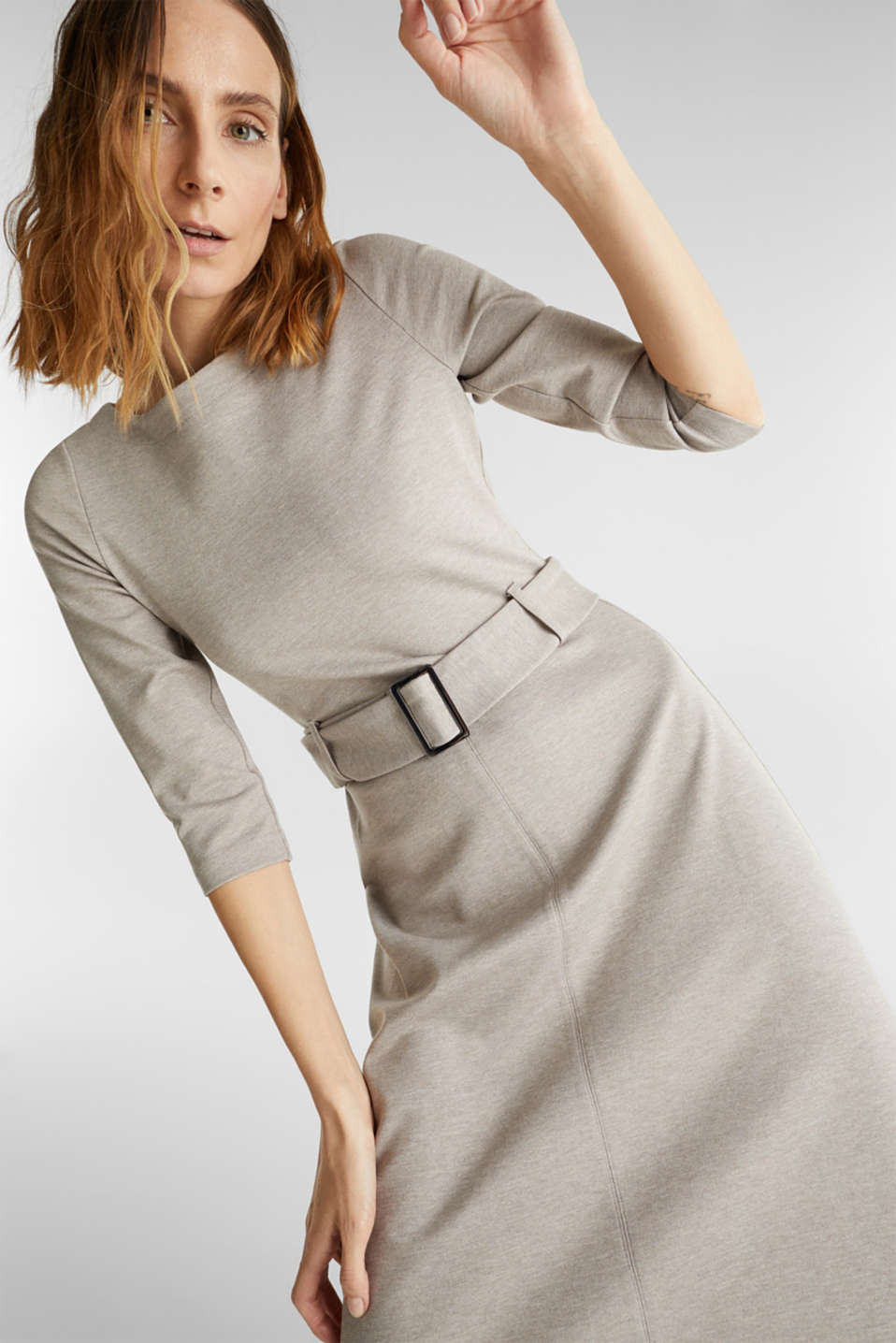 Stretch jersey dress with a belt, LIGHT BEIGE, detail image number 0