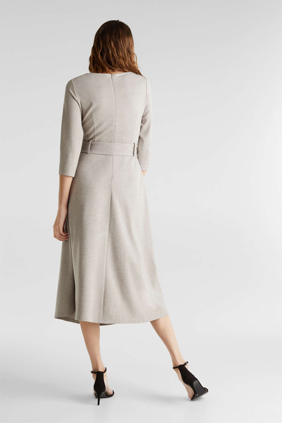 Stretch jersey dress with a belt, LIGHT BEIGE, detail image number 2
