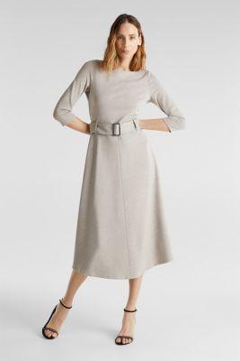 Stretch jersey dress with a belt, LIGHT BEIGE, detail