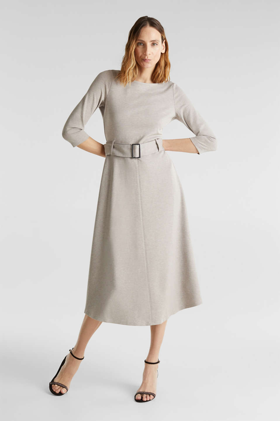 Stretch jersey dress with a belt, LIGHT BEIGE, detail image number 1