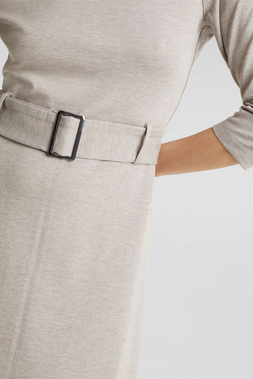 Stretch jersey dress with a belt, LIGHT BEIGE, detail image number 6
