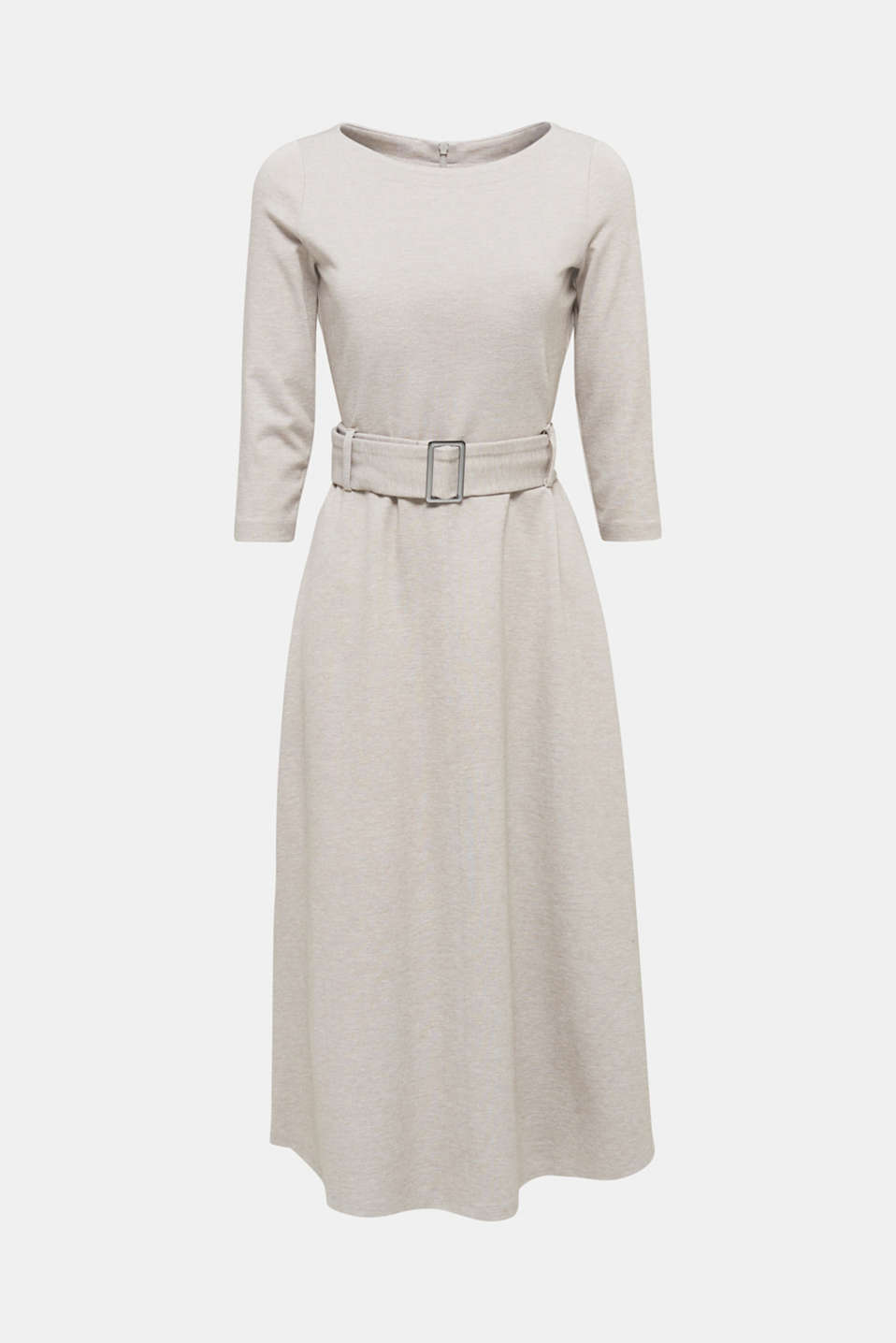 Stretch jersey dress with a belt, LIGHT BEIGE, detail image number 7