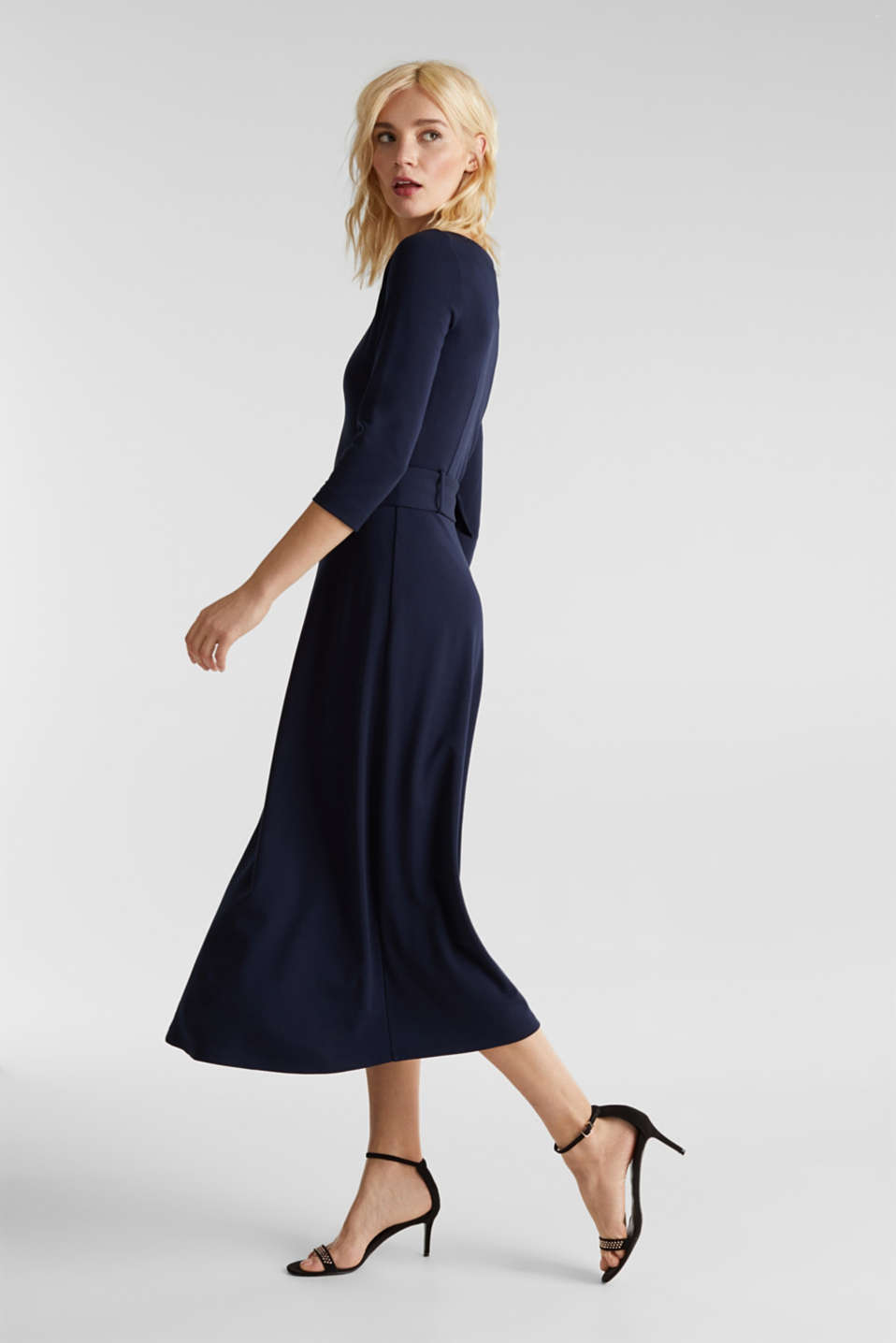 Stretch jersey dress with a belt, NAVY, detail image number 0