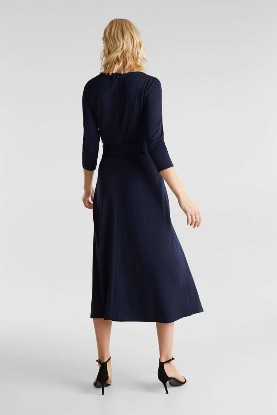 Stretch jersey dress with a belt, NAVY, detail image number 2