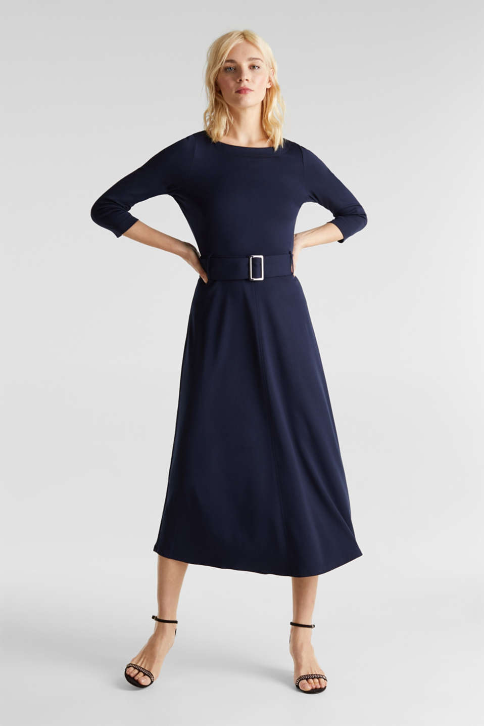 Stretch jersey dress with a belt, NAVY, detail image number 1