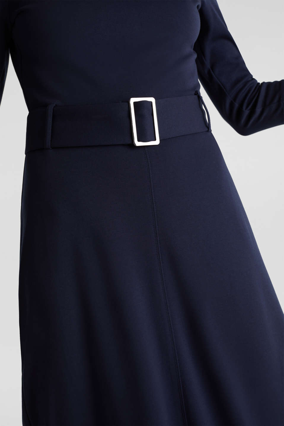 Stretch jersey dress with a belt, NAVY, detail image number 3