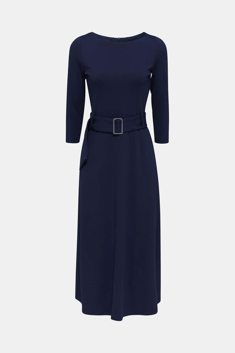 Stretch jersey dress with a belt, NAVY, detail image number 5