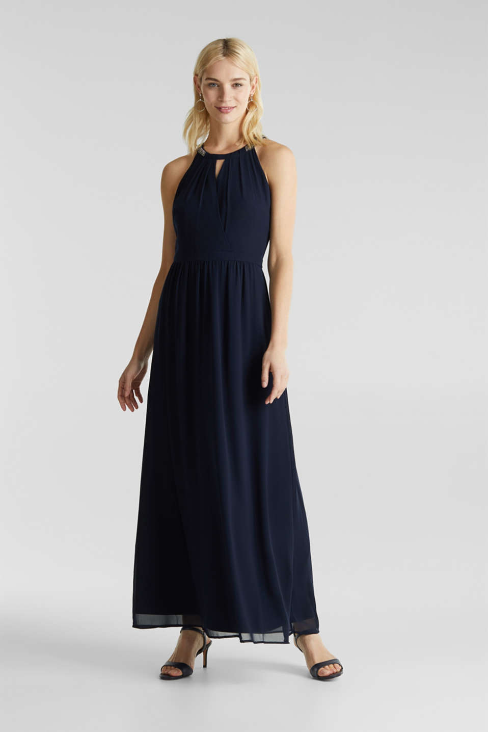 Chiffon dress with cut-away shoulders, NAVY, detail image number 0