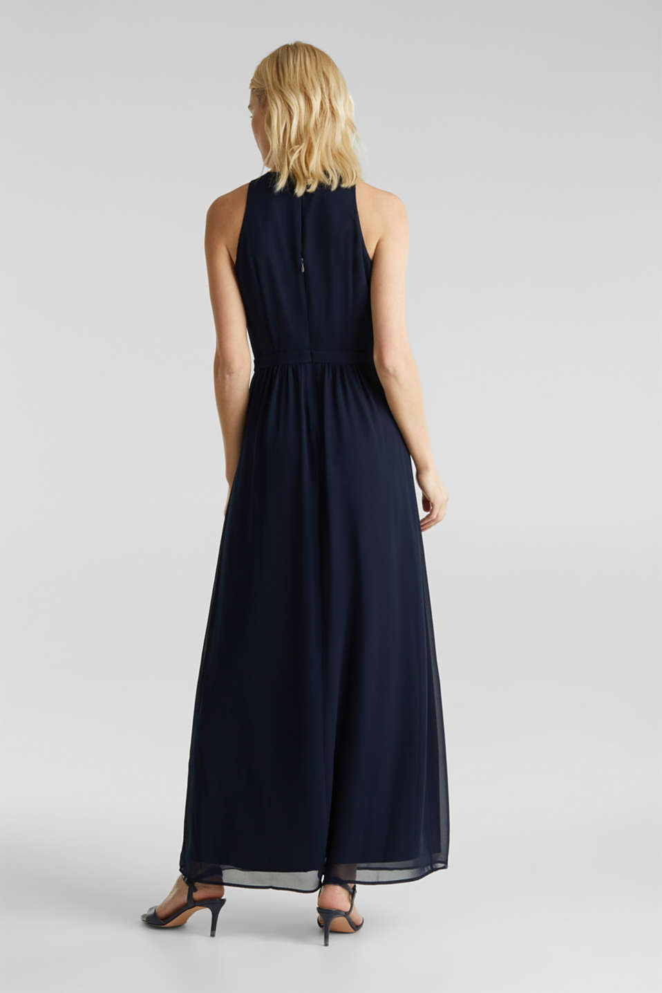 Chiffon dress with cut-away shoulders, NAVY, detail image number 2