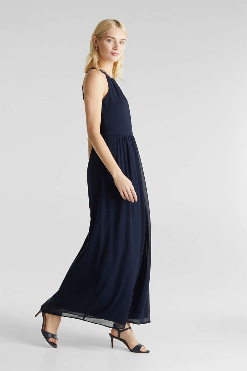 Chiffon dress with cut-away shoulders, NAVY, detail image number 1