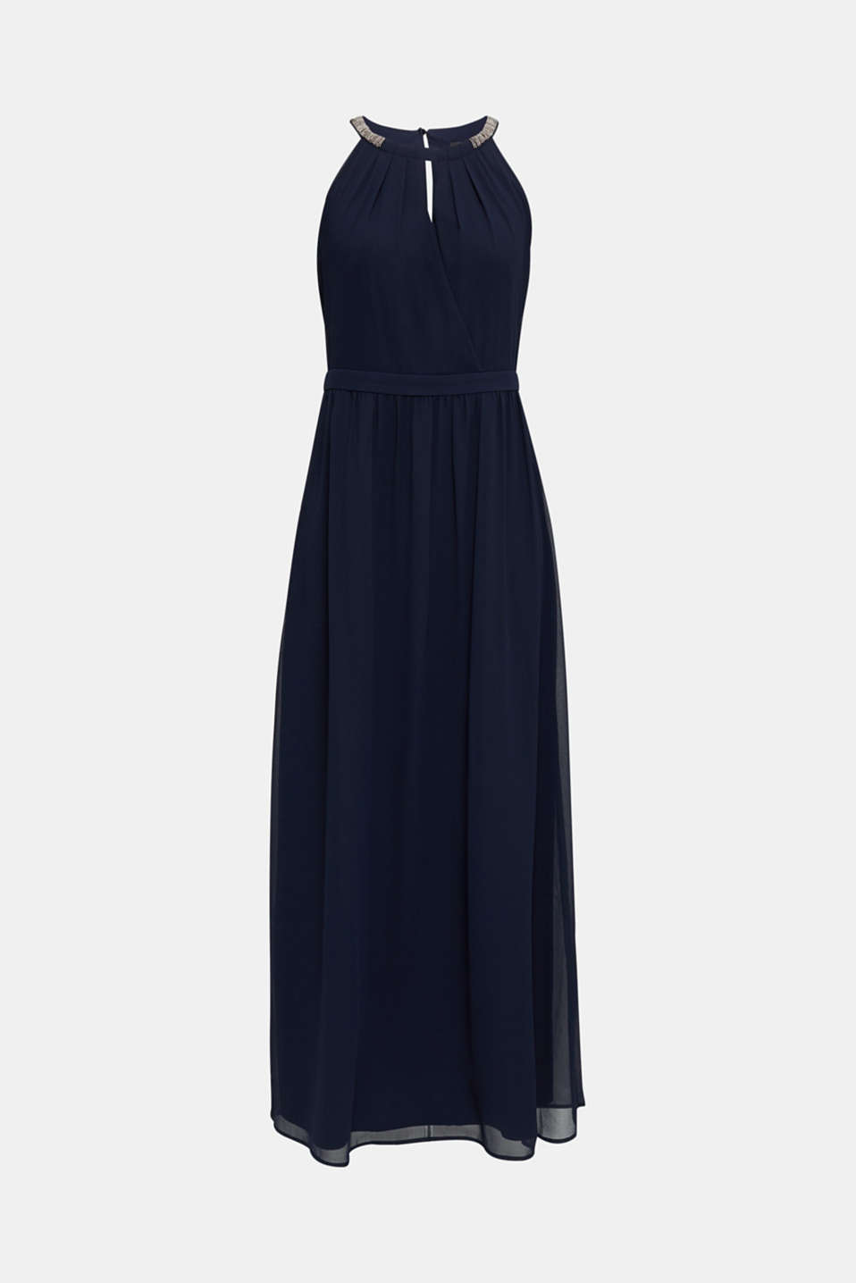 Chiffon dress with cut-away shoulders, NAVY, detail image number 7