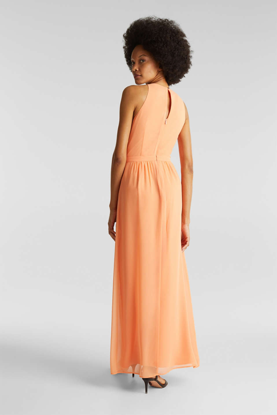 Chiffon dress with cut-away shoulders, ORANGE, detail image number 1