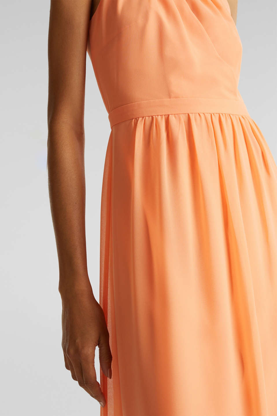 Chiffon dress with cut-away shoulders, ORANGE, detail image number 2