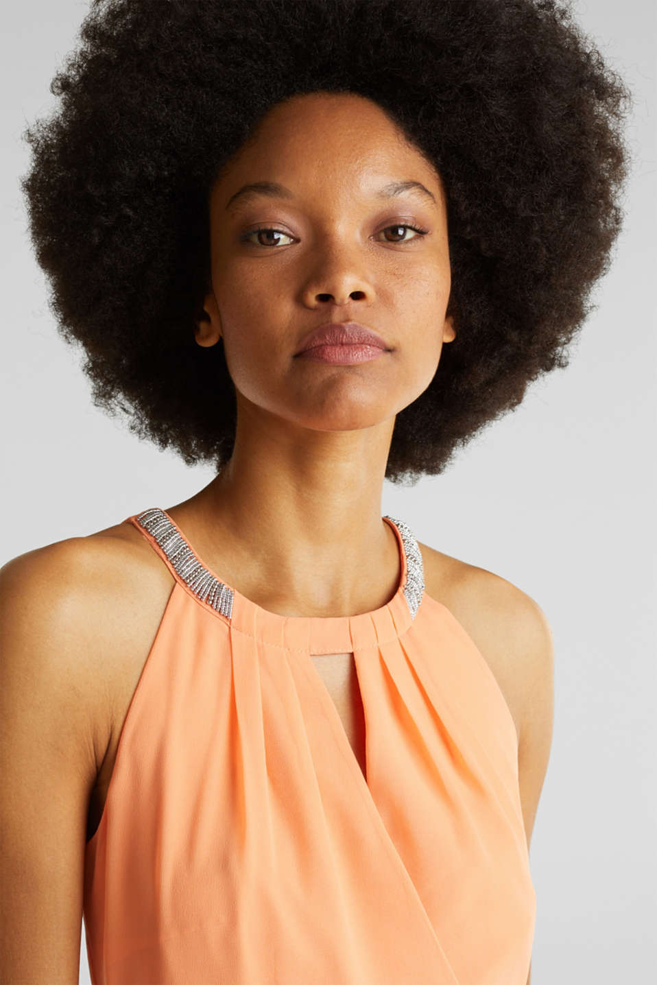 Chiffon dress with cut-away shoulders, ORANGE, detail image number 4