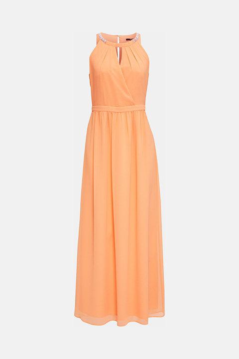 Chiffon dress with cut-away shoulders
