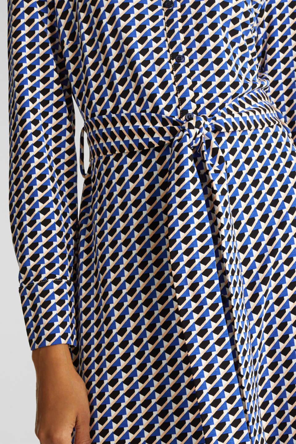 Shirt blouse style dress made of jersey, NAVY, detail image number 3