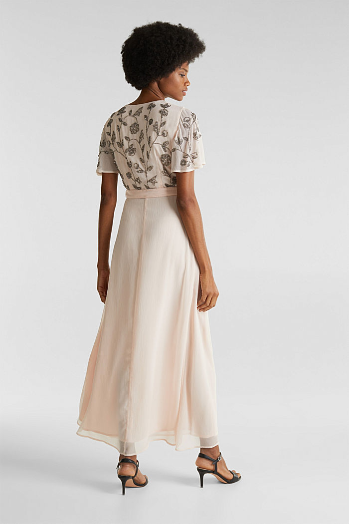 Kleid aus Crinkle-Chiffon mit Stickerei, PASTEL PINK, detail image number 2