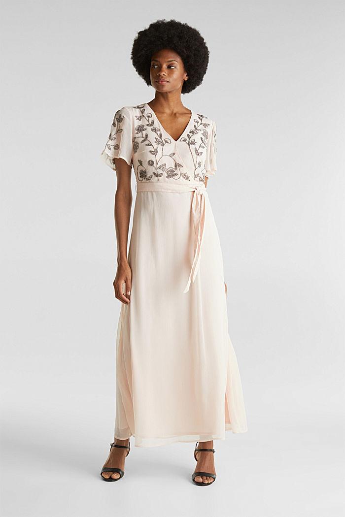 Kleid aus Crinkle-Chiffon mit Stickerei, PASTEL PINK, detail image number 1