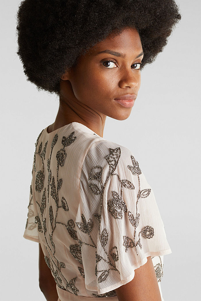 Kleid aus Crinkle-Chiffon mit Stickerei, PASTEL PINK, detail image number 5