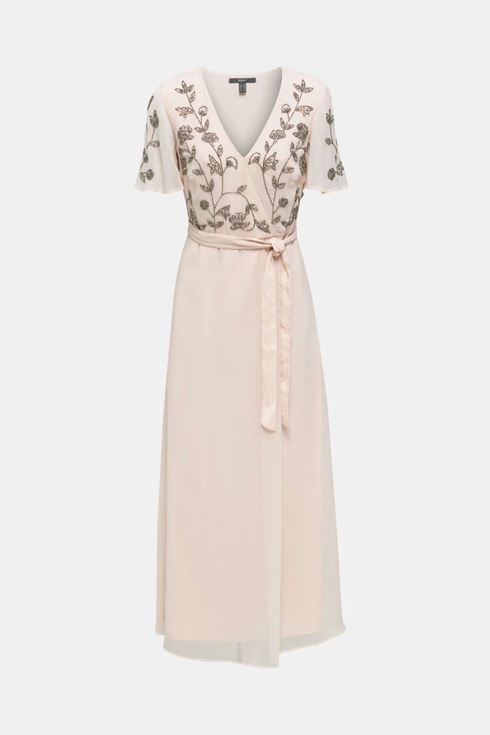 Crinkle chiffon dress with embroidery, PASTEL PINK, detail image number 6