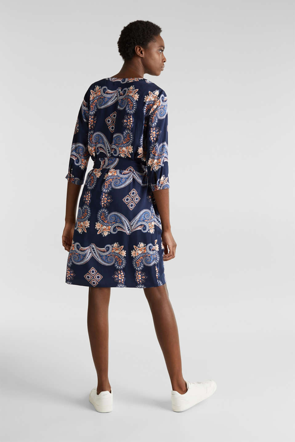 Woven dress with a print and a slip, NAVY 4, detail image number 2