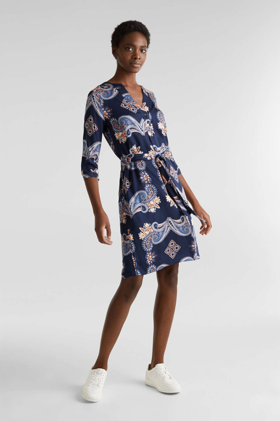 Woven dress with a print and a slip, NAVY 4, detail image number 1