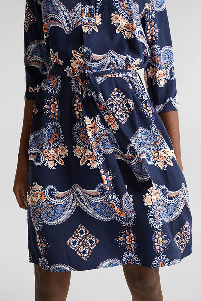 Geweven jurk met print en onderjurk, NAVY, detail image number 3