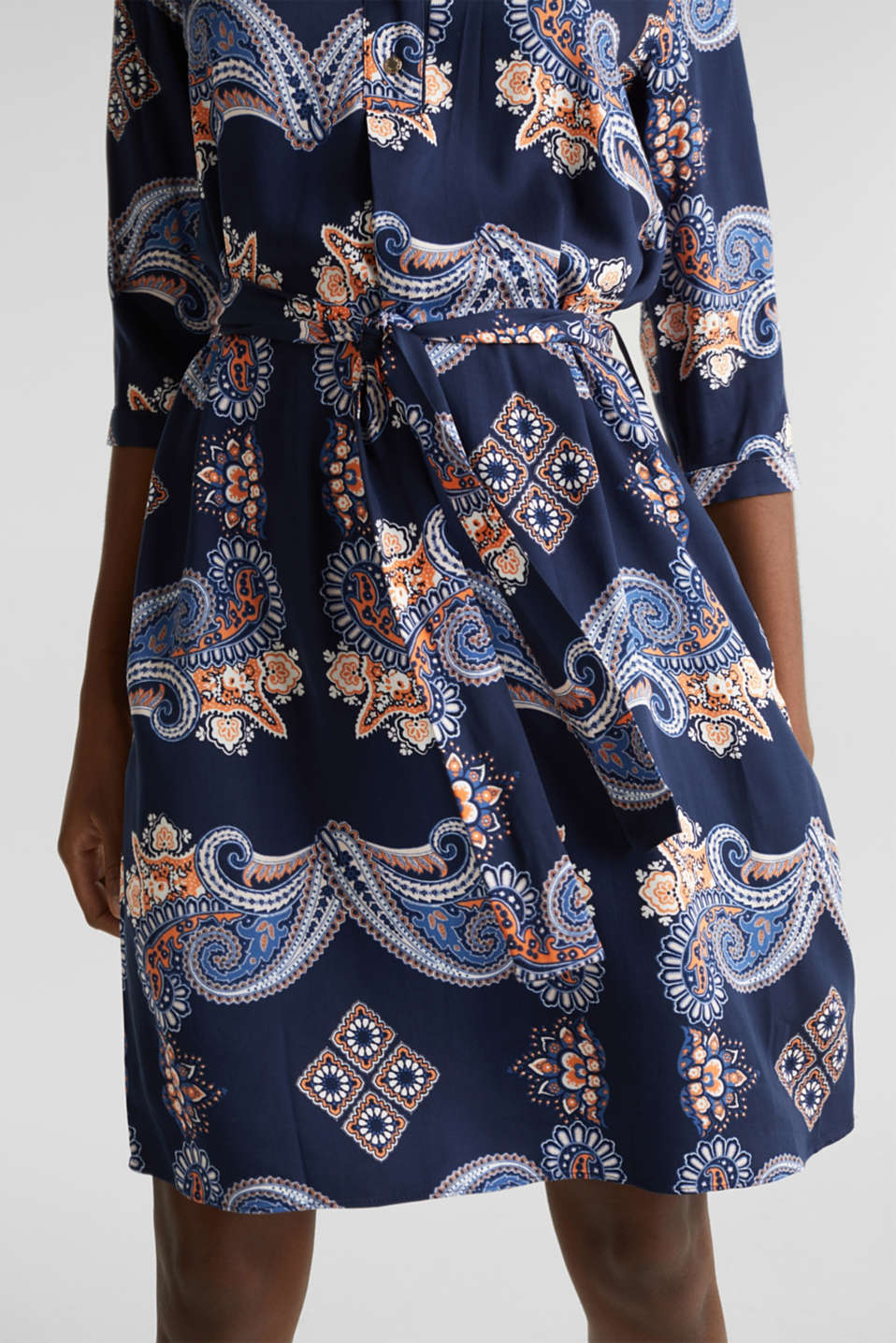 Woven dress with a print and a slip, NAVY 4, detail image number 3