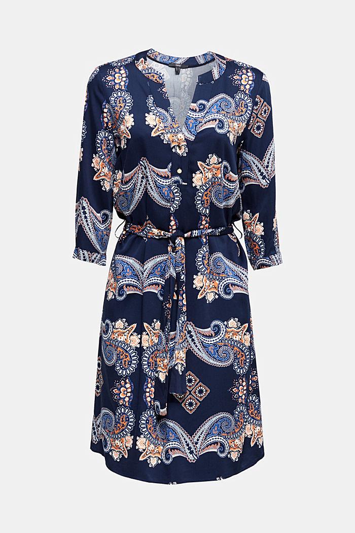 Geweven jurk met print en onderjurk, NAVY, detail image number 6